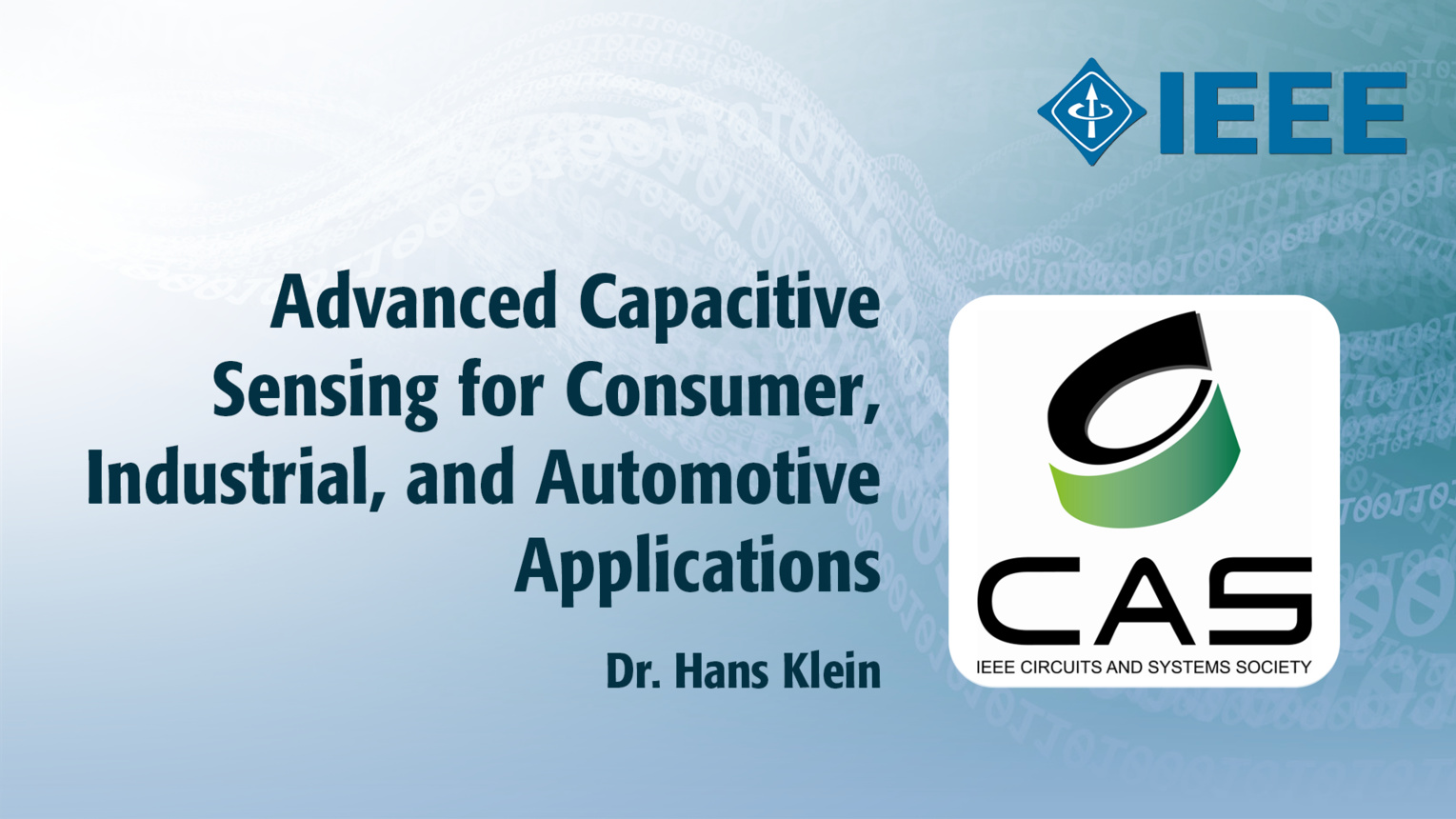Advanced Capacitive Sensing for Consumer, Industrial, and Automotive Applications - Lecture by Dr. Hans Klein