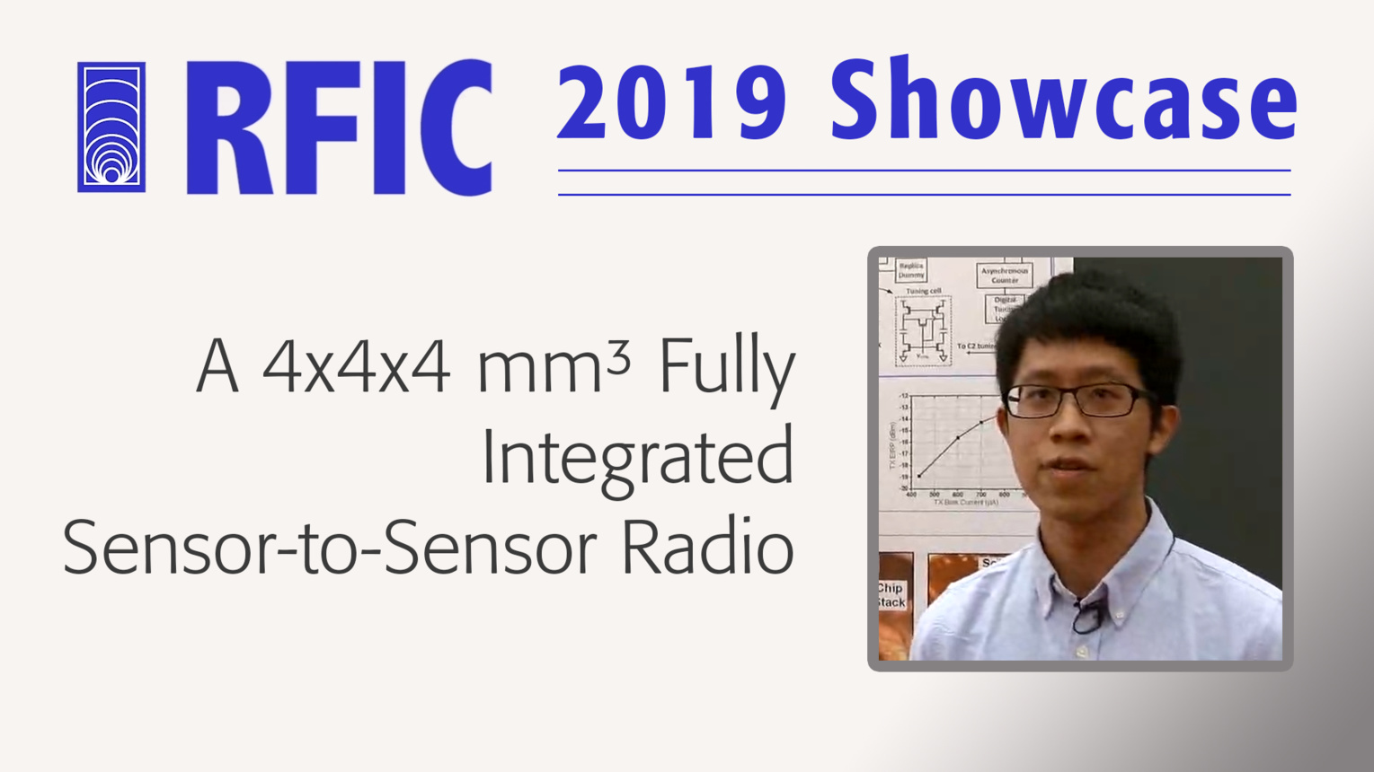 A 4x4x4 mm³ Fully Integrated Sensor-to-Sensor Radio - Li-Xuan Chuo - RFIC 2019 Showcase