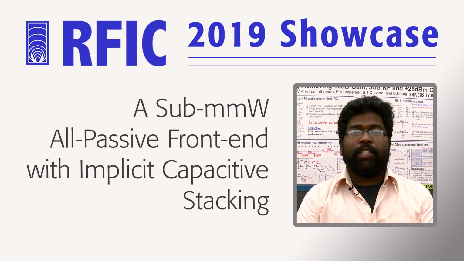 A Sub-mmW All-Passive Front-end with Implicit Capacitive Stacking - Vijaya K. Purushothaman - RFIC 2019 Showcase