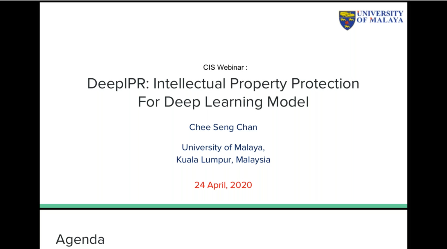Prof. Chee Seng Chan - Intellectual Property Protection for Deep Learning Model