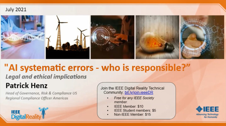 IEEE Digital Reality: AI Systematic Errors - Who Is Responsible