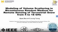 Modeling of Volume Scattering in Discontinuous Random Medium for Remote Sensing of Terrestrial Snow from 4 to 18 GHz Video