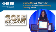 HKN Member Preethika Kumar Receives Award at 2015 EAB Awards Ceremony