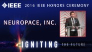 Sean Sliger of Neuropace accepts the IEEE Spectrum Technology in the Service of Society Award - Honors Ceremony 2016