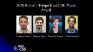 IEEE Roberto Tempo Best CDC Paper Award