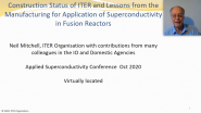 Construction Status of ITER and Lessons from the Manufacturing for Application of Superconductivity in Fusion Reactors: Applied Superconductivity Conference 2020