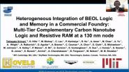 Joint Sessions: Heterogeneous Integration of BEOL Logic and Memory in a Commercial Foundry: Multi-Tier Complementary Carbon Nanotube Logic and Resistive RAM at a 130 nm Node