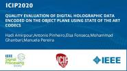 QUALITY EVALUATION OF DIGITAL HOLOGRAPHIC DATA ENCODED ON THE OBJECT PLANE USING STATE OF THE ART CODECS