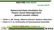 2020 PES GM 8/4 Panel Video: Advanced Data Analytics for Power Asset Management