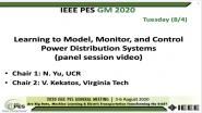 2020 PES GM 8/4 Panel Video: Learning to Model, Monitor, and Control Power Distribution Systems