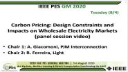 2020 PES GM 8/4 Panel Video: Carbon Pricing: Design Constraints and Impacts on Wholesale Electricity Markets