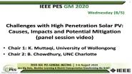 2020 PES GM 8/5 Panel Video: Challenges with High Penetration Solar PV: Causes, Impacts and Potential Mitigation