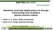 2020 PES GM 8/6 Panel Video: Machine Learning Applications to Energy Forecasting and Analytics
