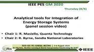 2020 PES GM 8/6 Panel Video: Analytical tools for Integration of Energy Storage Systems
