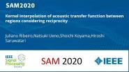 Kernel interpolation of acoustic transfer function between regions considering reciprocity