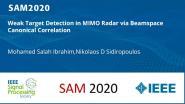 Weak Target Detection in MIMO Radar via Beamspace Canonical Correlation