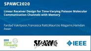 Linear Receiver Design for Time-Varying Poisson Molecular Communication Channels with Memory