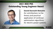 IEEE PES Outstanding Young Engineer Award, Daniel Molzahn -PES Awards Ceremony 2021